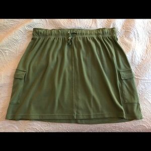 Olive Green Knit Skirt - Drawstring